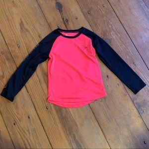 Under armour pink and black top size 6